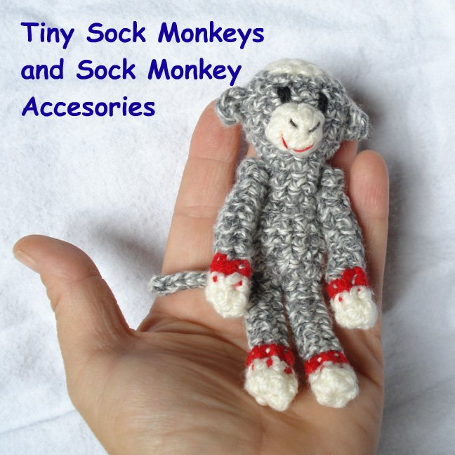 tiny crocheted sock monkey
